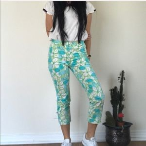 Lilly Pulitzer Cropped Flower Print Pants Size 2